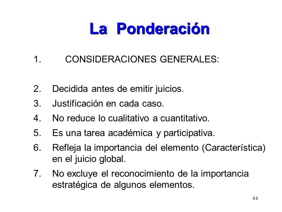 La Ponderación 1. CONSIDERACIONES GENERALES: 2.Decidida antes de emitir juicios. 3.Justificación en cada caso. 4.No reduce lo cualitativo a cuantitati