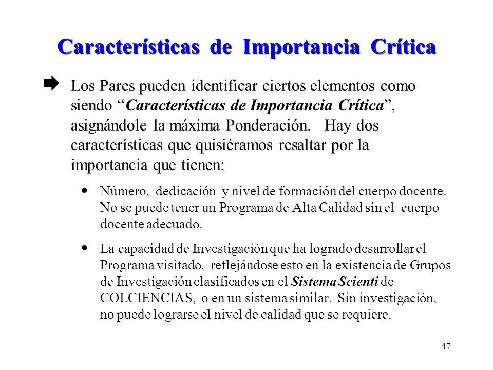 Características de Importancia Crítica Los Pares pueden identificar ciertos elementos como siendo Características de Importancia Crítica, asignándole