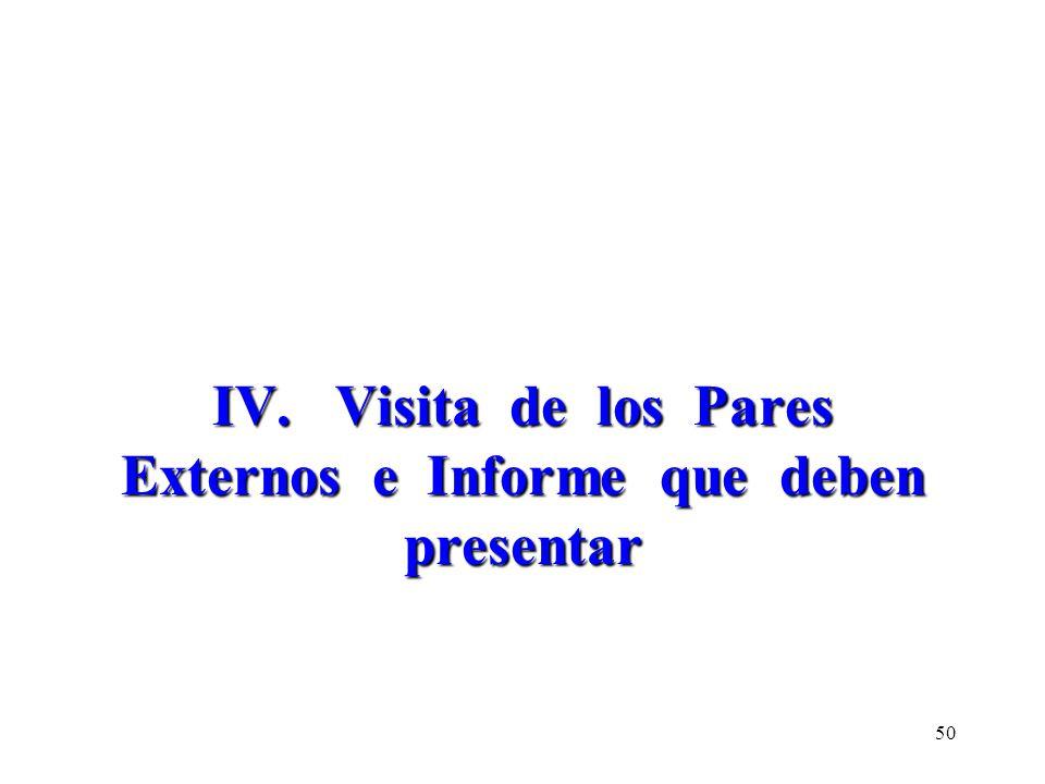 IV. Visita de los Pares Externos e Informe que deben presentar 50