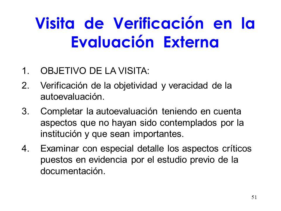 Visita de Verificación en la Evaluación Externa 1.OBJETIVO DE LA VISITA: 2.Verificación de la objetividad y veracidad de la autoevaluación. 3.Completa