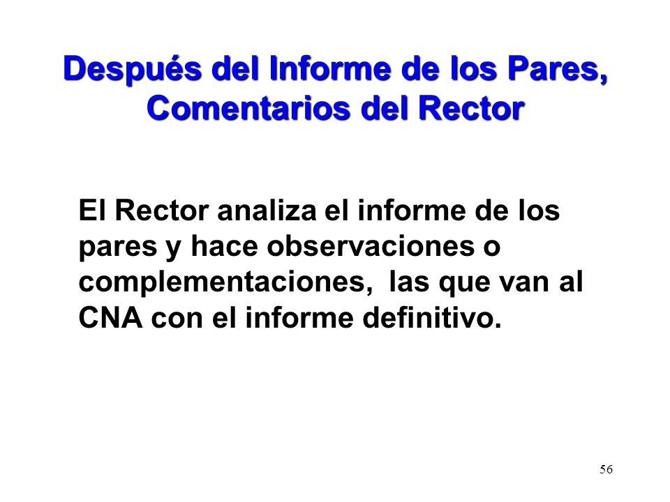 Después del Informe de los Pares, Comentarios del Rector El Rector analiza el informe de los pares y hace observaciones o complementaciones, las que v