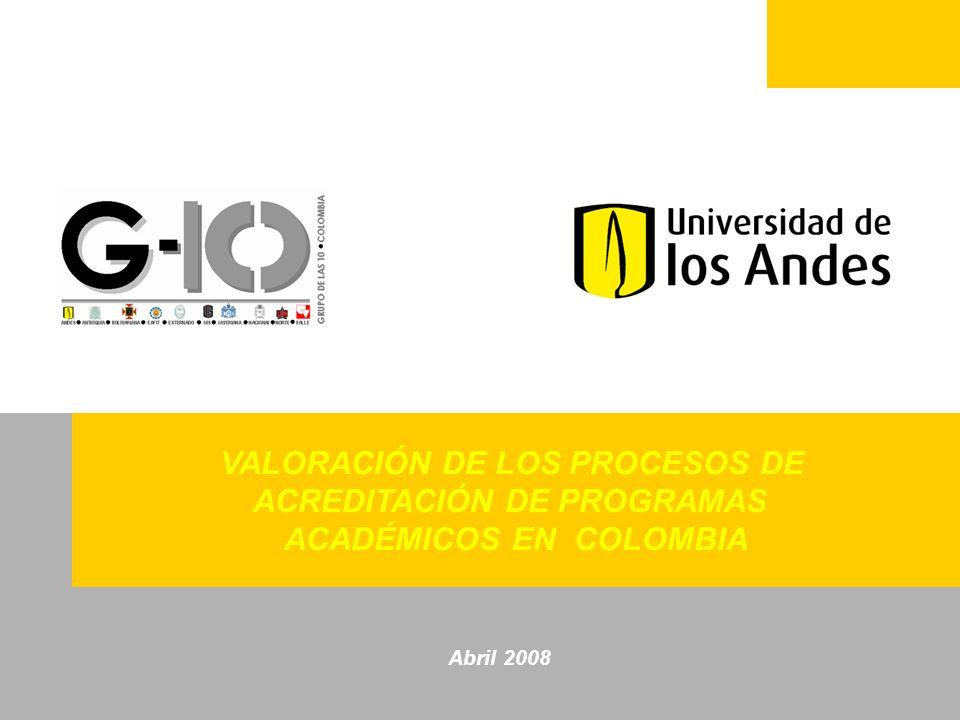 MARZO 2008 VALORACIÓN DE LOS PROCESOS DE ACREDITACIÓN DE PROGRAMAS ACADÉMICOS EN COLOMBIA Abril 2008