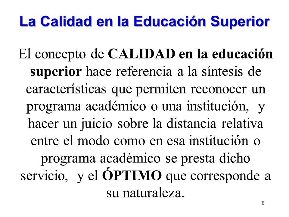 La Calidad en la Educación Superior El concepto de CALIDAD en la educación superior hace referencia a la síntesis de características que permiten reco