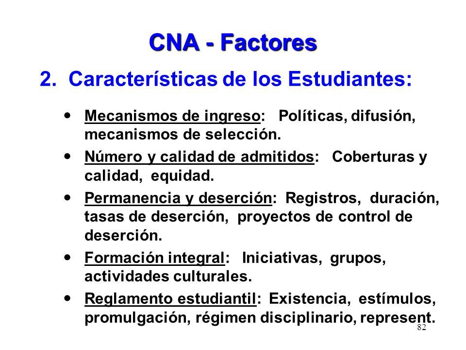 CNA - Factores 2. Características de los Estudiantes: Mecanismos de ingreso: Políticas, difusión, mecanismos de selección. Número y calidad de admitid