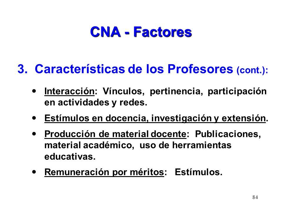 CNA - Factores 3. Características de los Profesores (cont.): Interacción: Vínculos, pertinencia, participación en actividades y redes. Estímulos en do