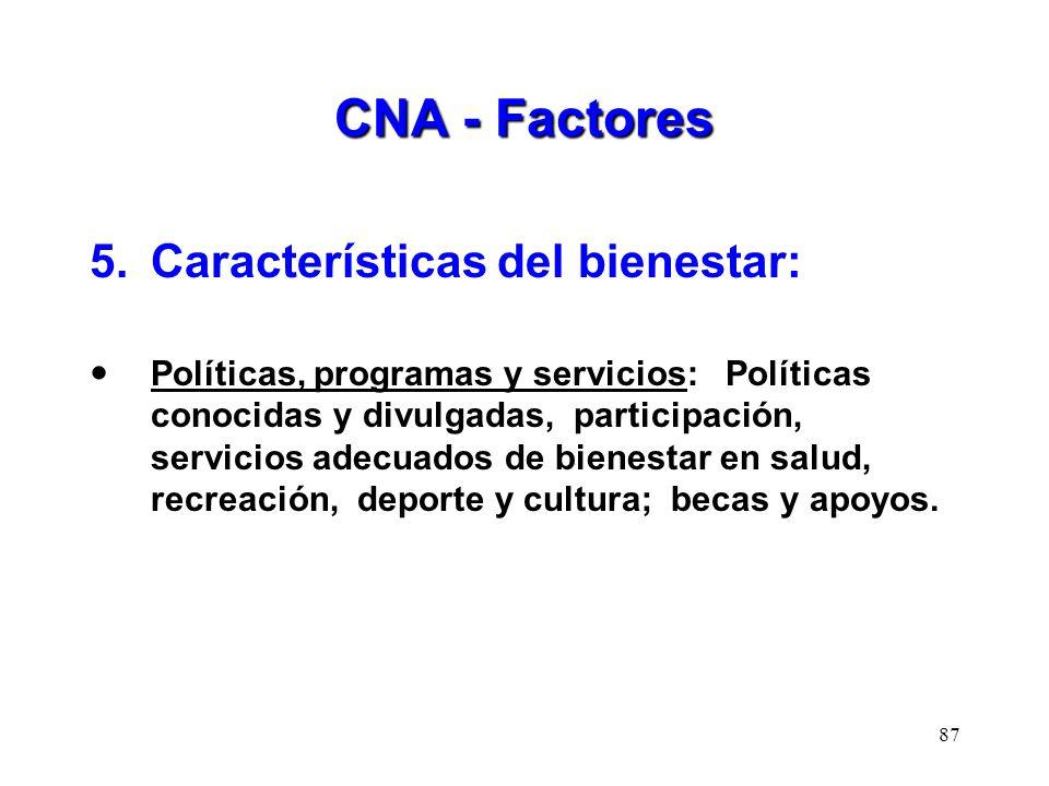 CNA - Factores 5.Características del bienestar: Políticas, programas y servicios: Políticas conocidas y divulgadas, participación, servicios adecuados