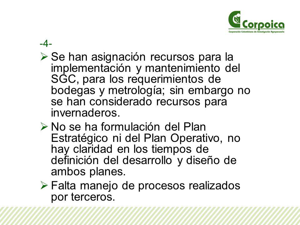 -4- Se han asignación recursos para la implementación y mantenimiento del SGC, para los requerimientos de bodegas y metrología; sin embargo no se han considerado recursos para invernaderos.