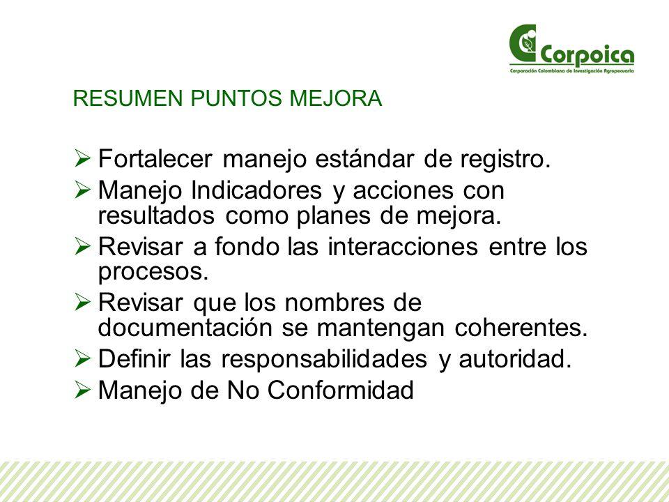 RESUMEN PUNTOS MEJORA Fortalecer manejo estándar de registro.
