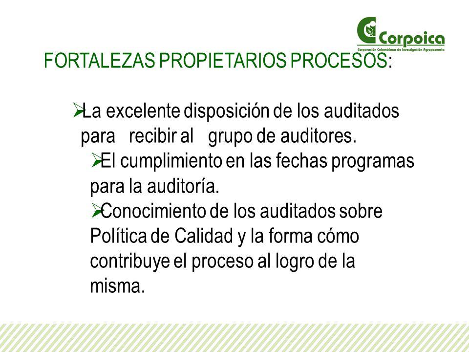 FORTALEZAS PROPIETARIOS PROCESOS: La excelente disposición de los auditados para recibir al grupo de auditores. El cumplimiento en las fechas programa