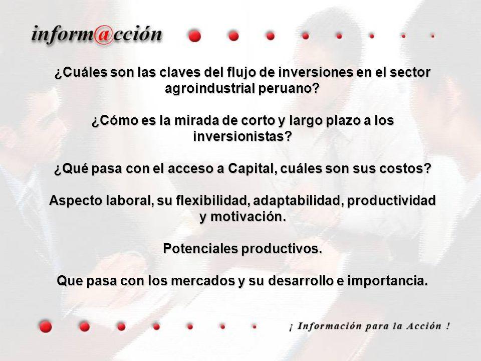 ¿Cuáles son las claves del flujo de inversiones en el sector agroindustrial peruano? ¿Cómo es la mirada de corto y largo plazo a los inversionistas? ¿