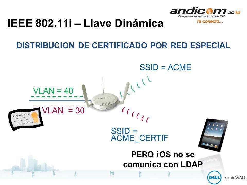 IEEE 802.11i – Llave Dinámica DISTRIBUCION DE CERTIFICADO POR RED ESPECIAL SSID = ACME SSID = ACME_CERTIF VLAN = 40 VLAN = 30 PERO iOS no se comunica con LDAP
