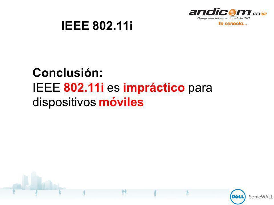 IEEE 802.11i Conclusión: IEEE 802.11i es impráctico para dispositivos móviles