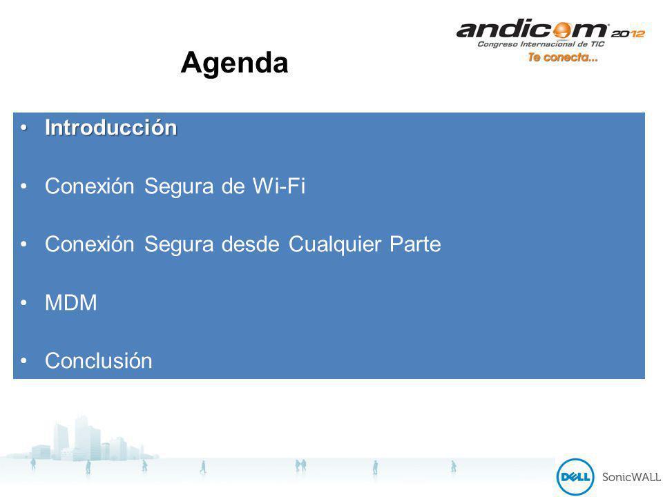 Agenda IntroducciónIntroducción Conexión Segura de Wi-Fi Conexión Segura desde Cualquier Parte MDM Conclusión