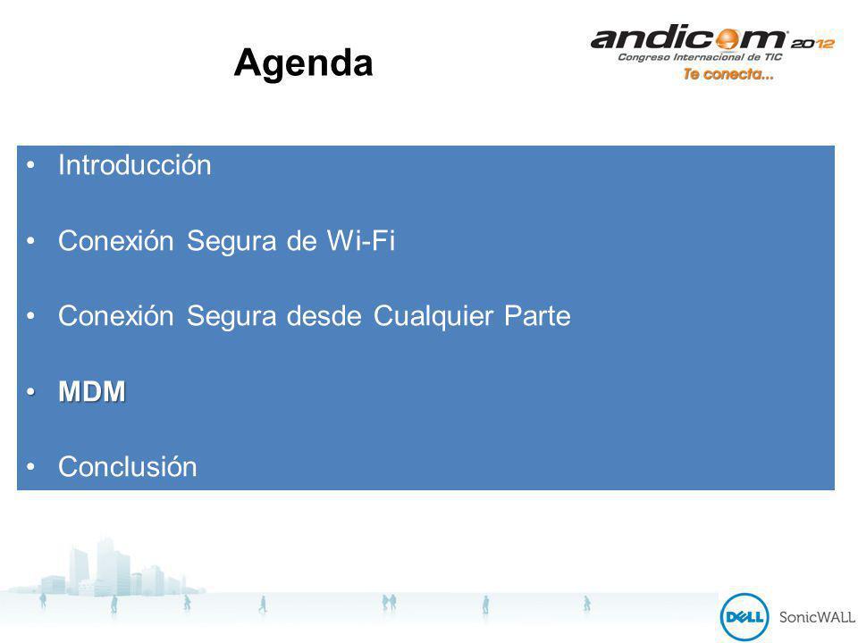 Agenda Introducción Conexión Segura de Wi-Fi Conexión Segura desde Cualquier Parte MDMMDM Conclusión