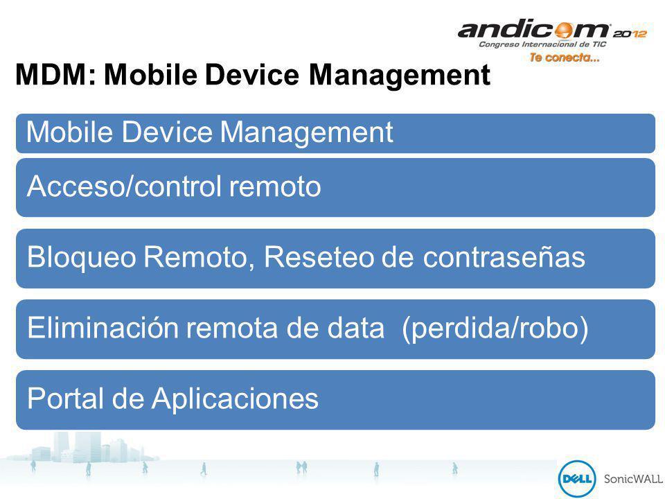 MDM: Mobile Device Management Mobile Device Management Acceso/control remotoBloqueo Remoto, Reseteo de contraseñasEliminación remota de data (perdida/robo)Portal de Aplicaciones