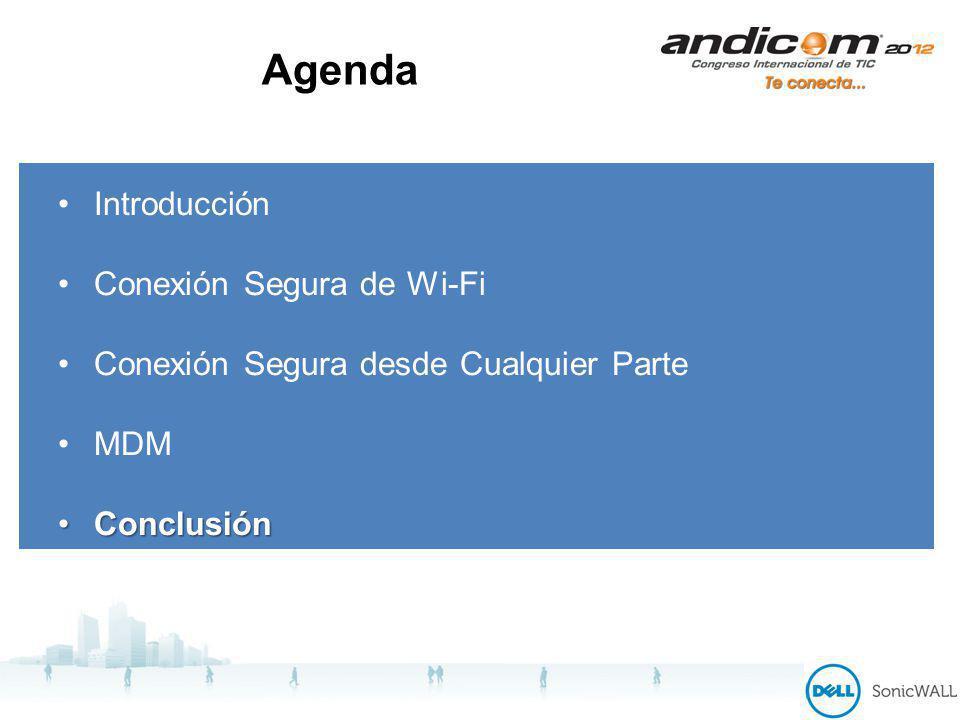 Agenda Introducción Conexión Segura de Wi-Fi Conexión Segura desde Cualquier Parte MDM ConclusiónConclusión