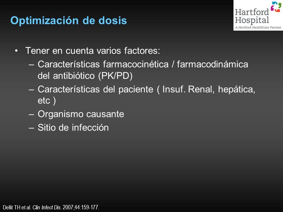 Optimización de dosis Tener en cuenta varios factores: –Características farmacocinética / farmacodinámica del antibiótico (PK/PD) –Características del