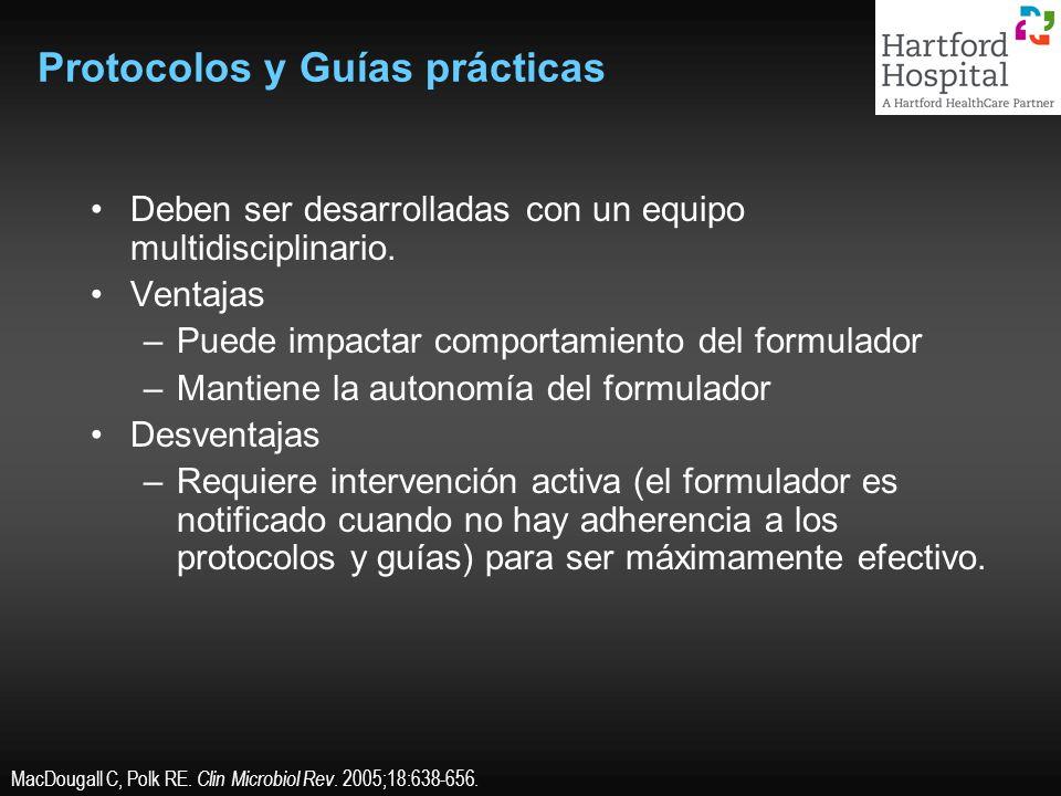 Protocolos y Guías prácticas Deben ser desarrolladas con un equipo multidisciplinario. Ventajas –Puede impactar comportamiento del formulador –Mantien