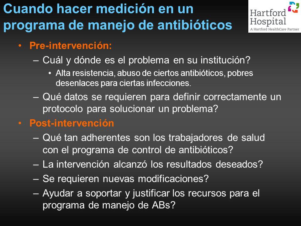 Cuando hacer medición en un programa de manejo de antibióticos Pre-intervención: –Cuál y dónde es el problema en su institución? Alta resistencia, abu