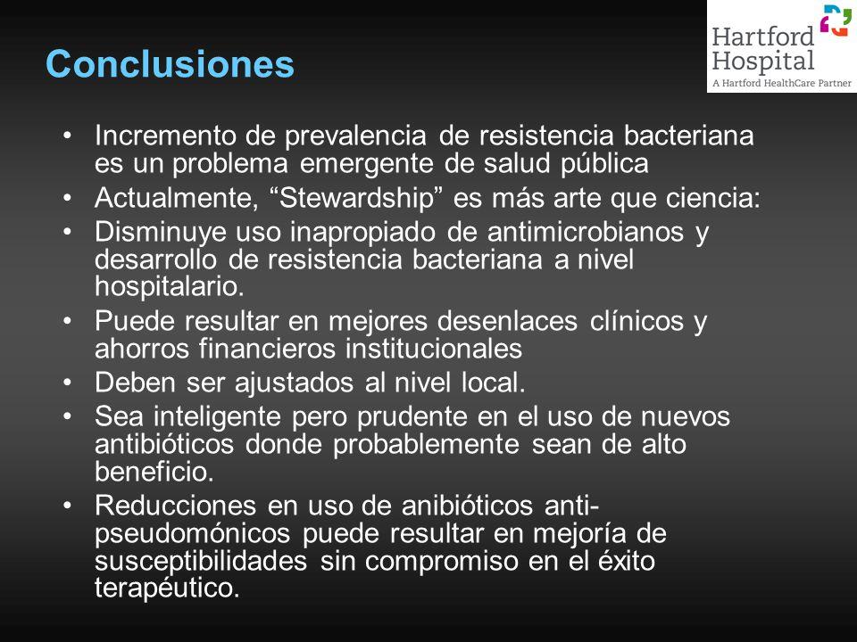 Conclusiones Incremento de prevalencia de resistencia bacteriana es un problema emergente de salud pública Actualmente, Stewardship es más arte que ci