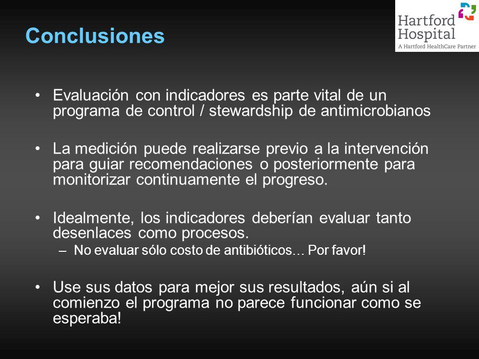 Conclusiones Evaluación con indicadores es parte vital de un programa de control / stewardship de antimicrobianos La medición puede realizarse previo