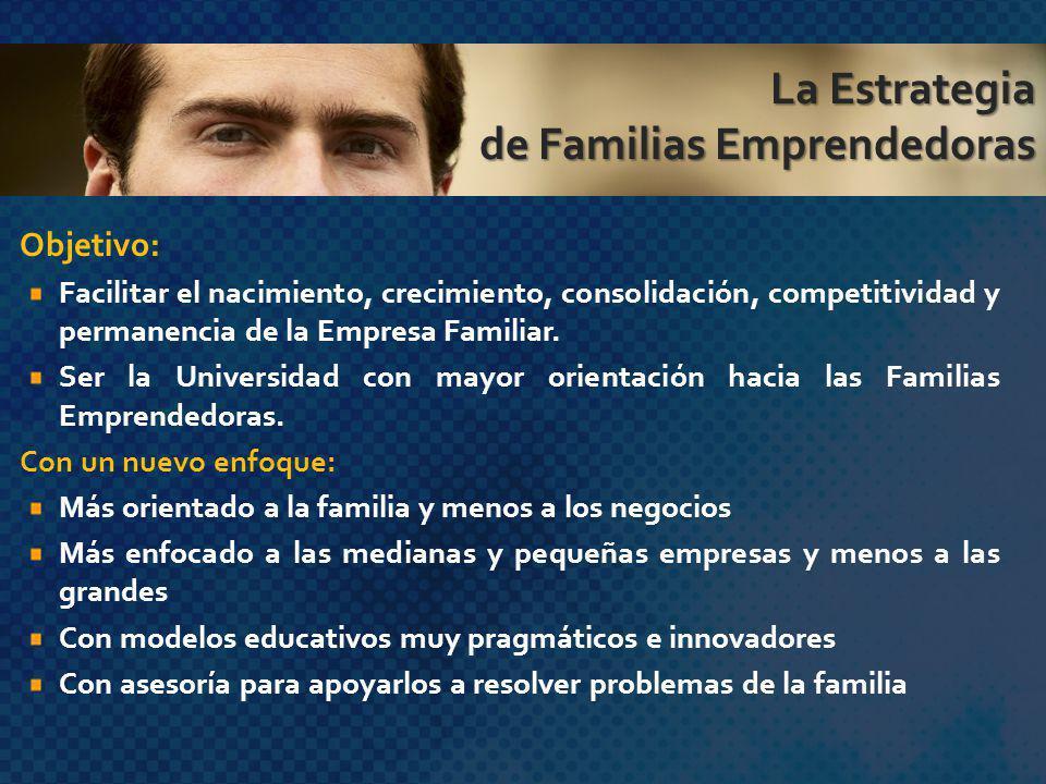 Objetivo: Facilitar el nacimiento, crecimiento, consolidación, competitividad y permanencia de la Empresa Familiar. Ser la Universidad con mayor orien
