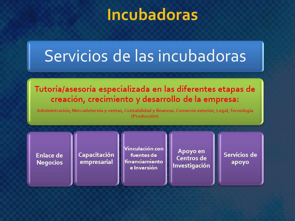 Servicios de las incubadoras Tutoría/asesoría especializada en las diferentes etapas de creación, crecimiento y desarrollo de la empresa: Administraci