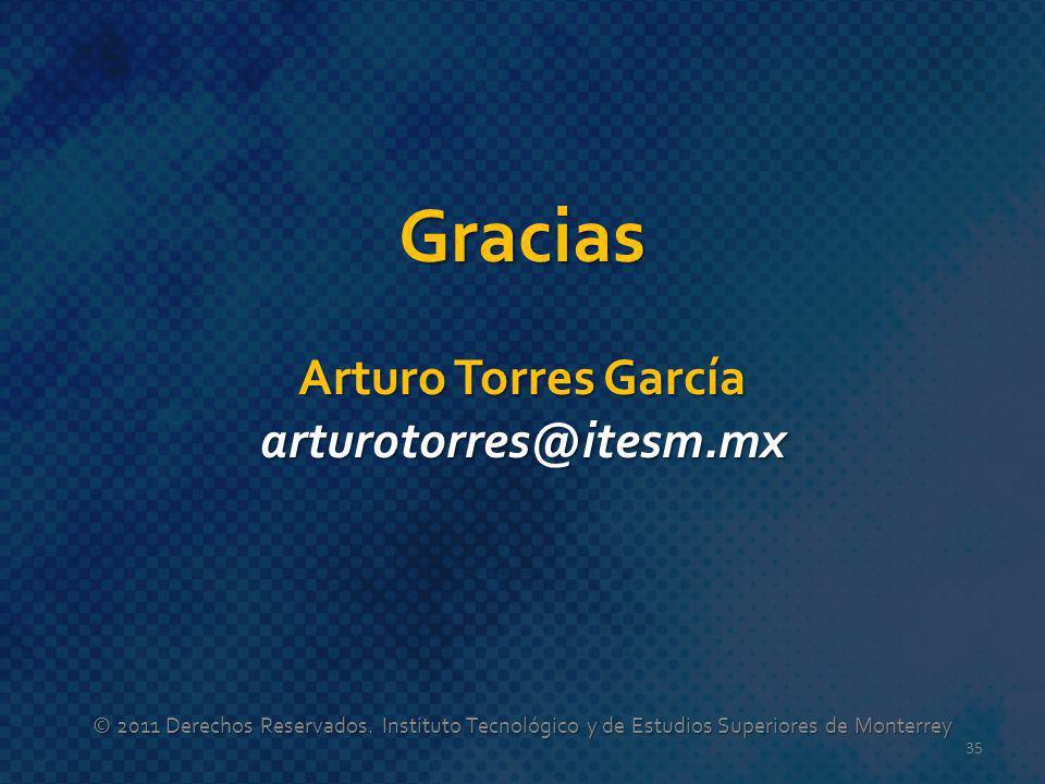 Gracias Arturo Torres García arturotorres@itesm.mx © 2011 Derechos Reservados. Instituto Tecnológico y de Estudios Superiores de Monterrey 35
