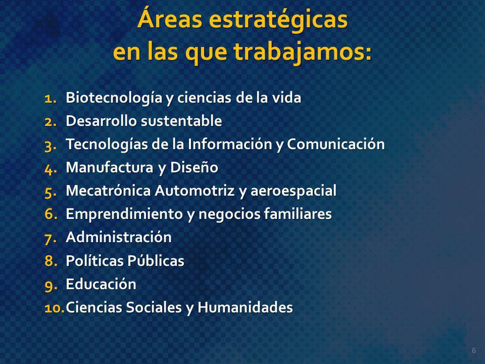 Áreas estratégicas en las que trabajamos: 1.Biotecnología y ciencias de la vida 2.Desarrollo sustentable 3.Tecnologías de la Información y Comunicació