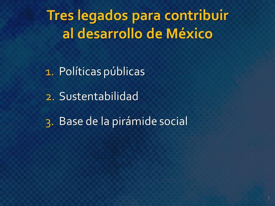 Tres legados para contribuir al desarrollo de México 1.Políticas públicas 2.Sustentabilidad 3.Base de la pirámide social 7