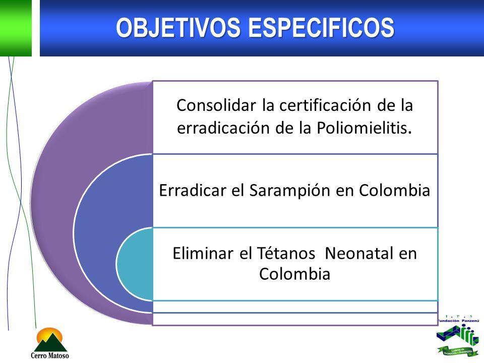 OBJETIVOS ESPECIFICOS Consolidar la certificación de la erradicación de la Poliomielitis. Erradicar el Sarampión en Colombia Eliminar el Tétanos Neona