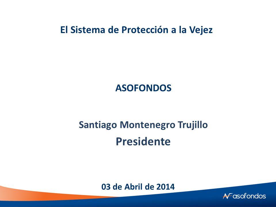 El Sistema de Protección a la Vejez Santiago Montenegro Trujillo Presidente 03 de Abril de 2014 ASOFONDOS