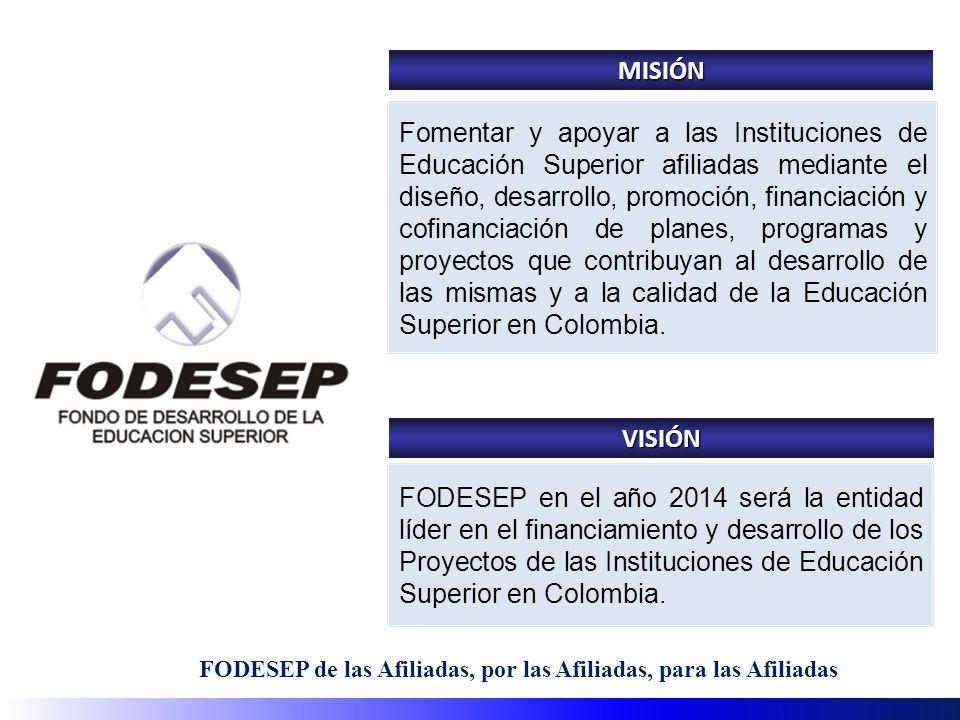 FODESEP de las Afiliadas, por las Afiliadas, para las Afiliadas Fomentar y apoyar a las Instituciones de Educación Superior afiliadas mediante el diseño, desarrollo, promoción, financiación y cofinanciación de planes, programas y proyectos que contribuyan al desarrollo de las mismas y a la calidad de la Educación Superior en Colombia.