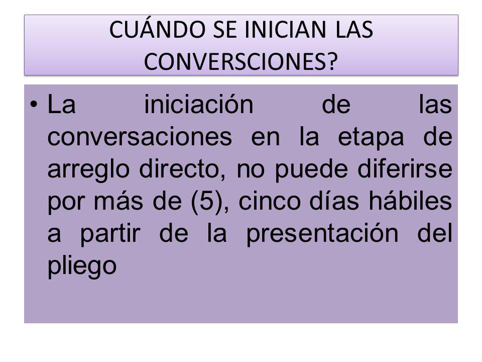 CUÁNDO SE INICIAN LAS CONVERSCIONES? La iniciación de las conversaciones en la etapa de arreglo directo, no puede diferirse por más de (5), cinco días