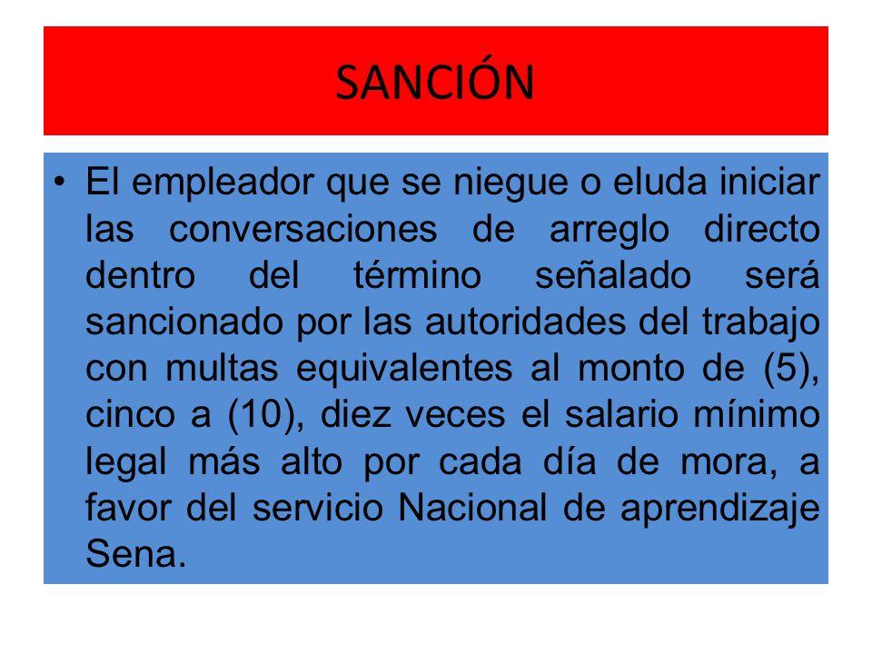 SANCIÓN El empleador que se niegue o eluda iniciar las conversaciones de arreglo directo dentro del término señalado será sancionado por las autoridad