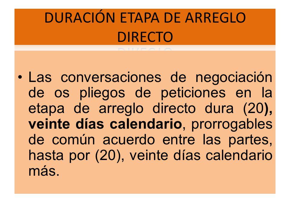 Las conversaciones de negociación de os pliegos de peticiones en la etapa de arreglo directo dura (20), veinte días calendario, prorrogables de común