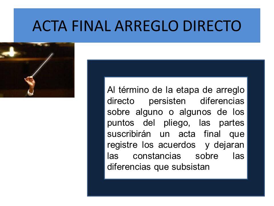 ACTA FINAL ARREGLO DIRECTO Al término de la etapa de arreglo directo persisten diferencias sobre alguno o algunos de los puntos del pliego, las partes