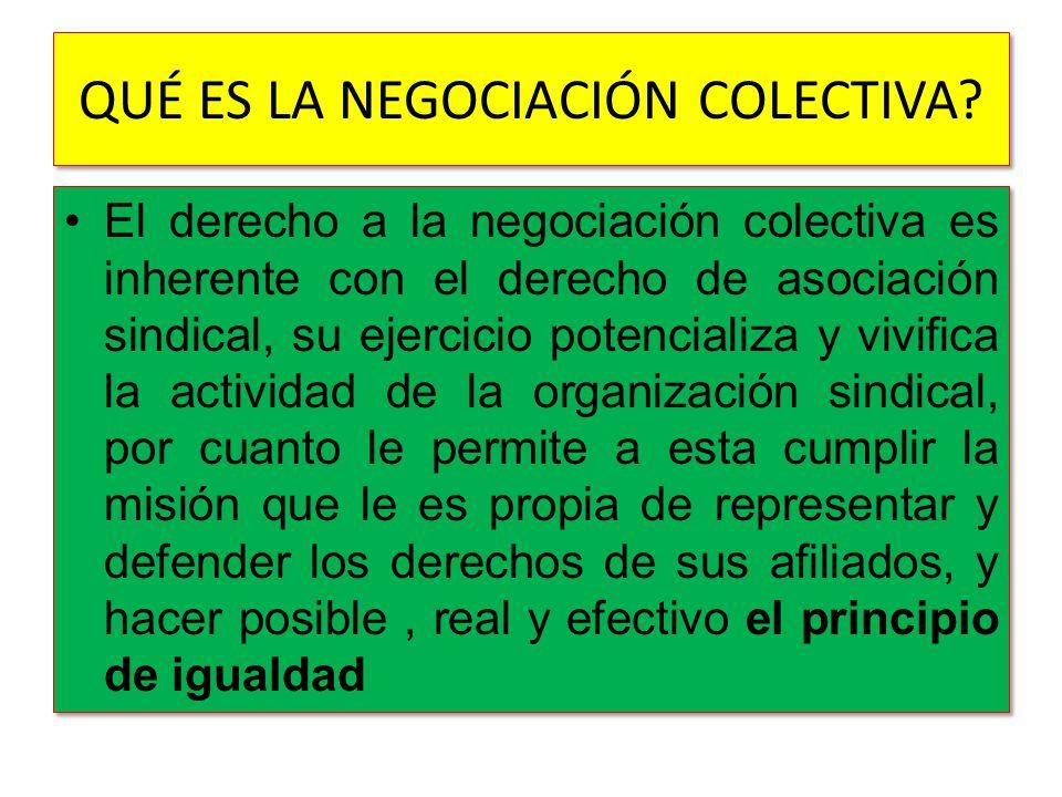 QUÉ ES LA NEGOCIACIÓN COLECTIVA? El derecho a la negociación colectiva es inherente con el derecho de asociación sindical, su ejercicio potencializa y