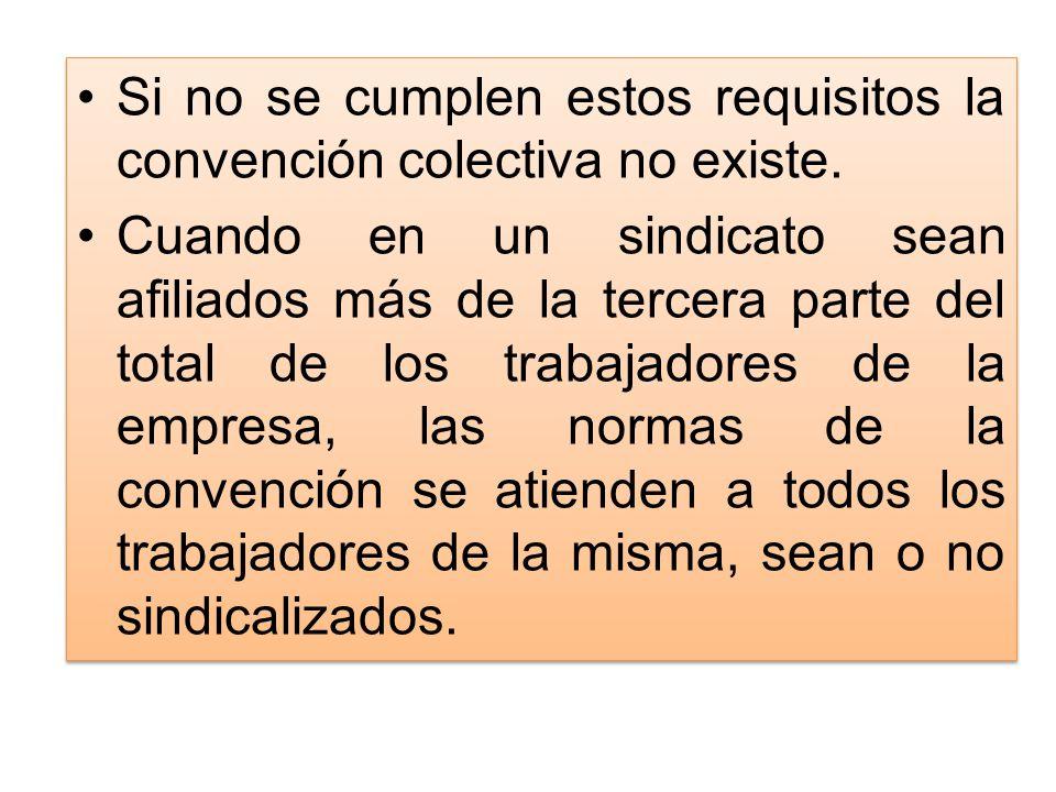 Si no se cumplen estos requisitos la convención colectiva no existe. Cuando en un sindicato sean afiliados más de la tercera parte del total de los tr