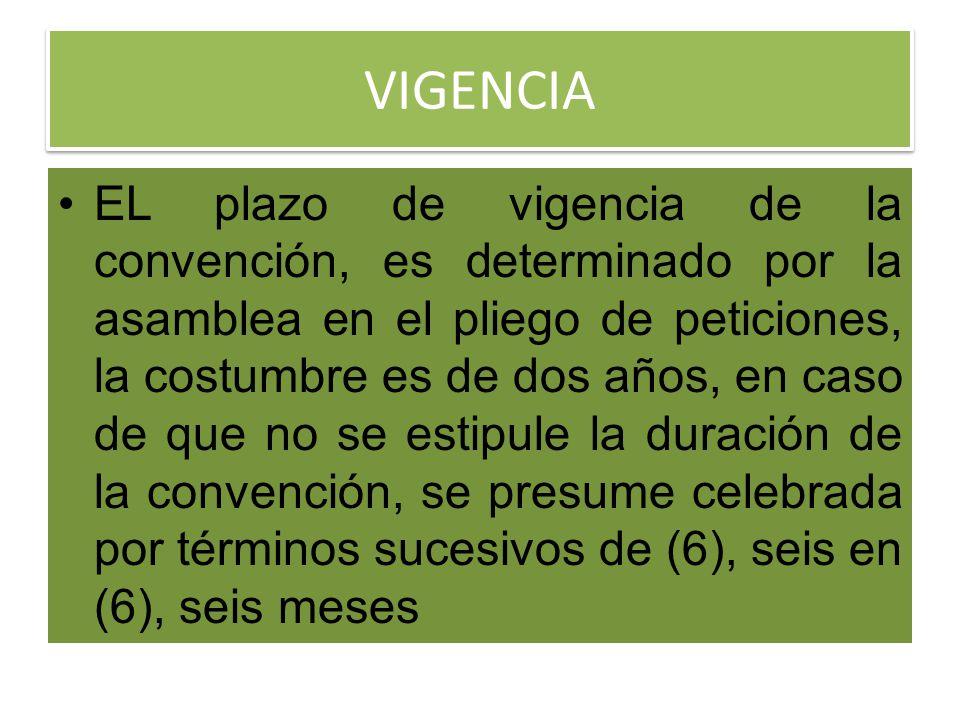 VIGENCIA EL plazo de vigencia de la convención, es determinado por la asamblea en el pliego de peticiones, la costumbre es de dos años, en caso de que