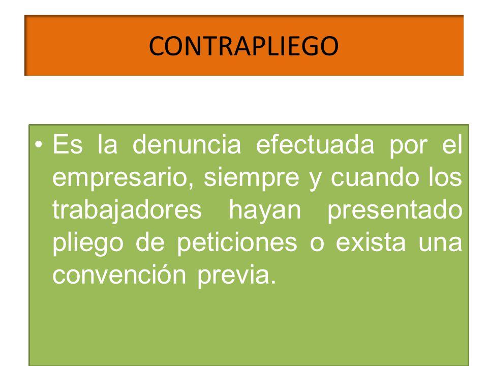 CONTRAPLIEGO Es la denuncia efectuada por el empresario, siempre y cuando los trabajadores hayan presentado pliego de peticiones o exista una convenci