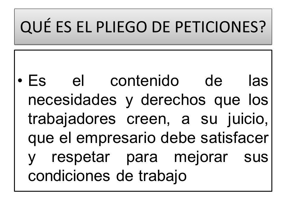 ELABORACIÓN Y APROBACIÓN DEL PLIEGO Los sindicatos de acuerdo a las reglamentaciones estatutarias, o a los trabajadores no sindicalizados que promuevan el conflicto colectivo
