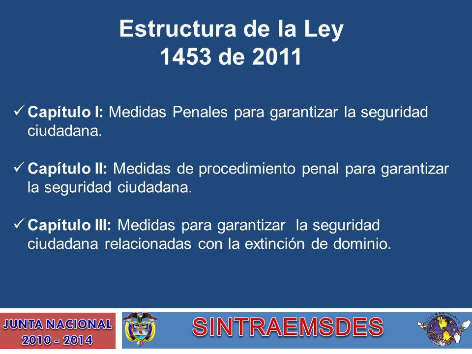 Estructura de la Ley 1453 de 2011 Capítulo I: Medidas Penales para garantizar la seguridad ciudadana. Capítulo II: Medidas de procedimiento penal para