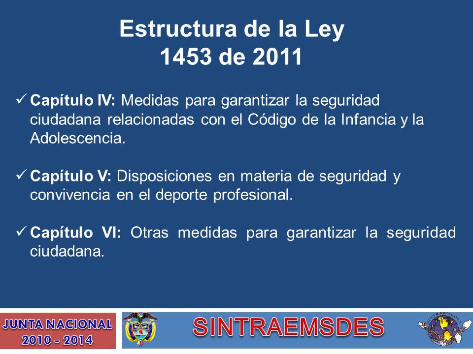 Estructura de la Ley 1453 de 2011 Capítulo IV: Medidas para garantizar la seguridad ciudadana relacionadas con el Código de la Infancia y la Adolescen