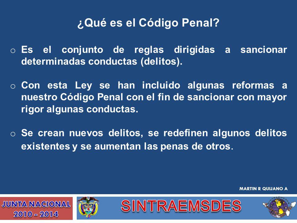 ¿Qué es el Código Penal? o Es el conjunto de reglas dirigidas a sancionar determinadas conductas (delitos). o Con esta Ley se han incluido algunas ref