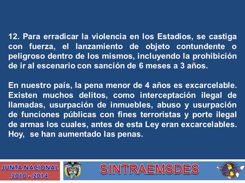 12. Para erradicar la violencia en los Estadios, se castiga con fuerza, el lanzamiento de objeto contundente o peligroso dentro de los mismos, incluye