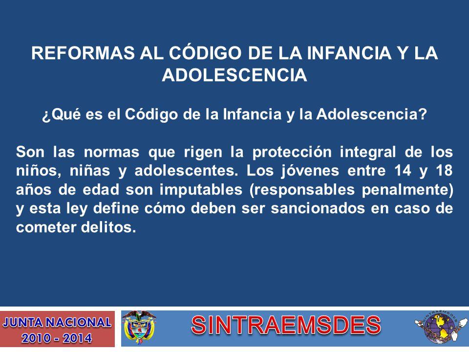 REFORMAS AL CÓDIGO DE LA INFANCIA Y LA ADOLESCENCIA ¿Qué es el Código de la Infancia y la Adolescencia? Son las normas que rigen la protección integra