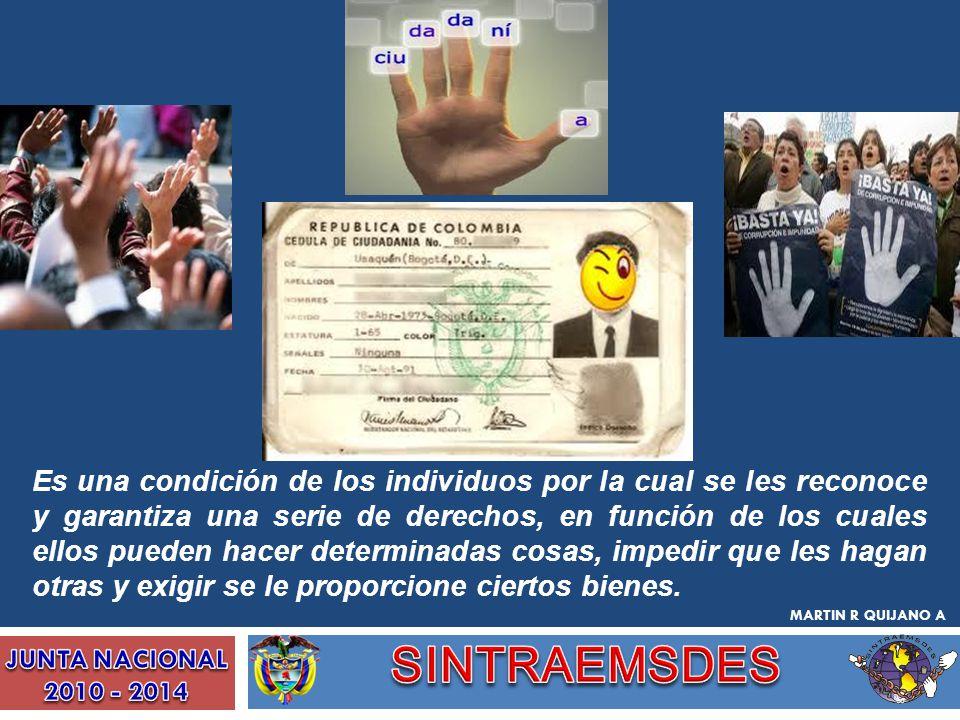 Es una condición de los individuos por la cual se les reconoce y garantiza una serie de derechos, en función de los cuales ellos pueden hacer determin