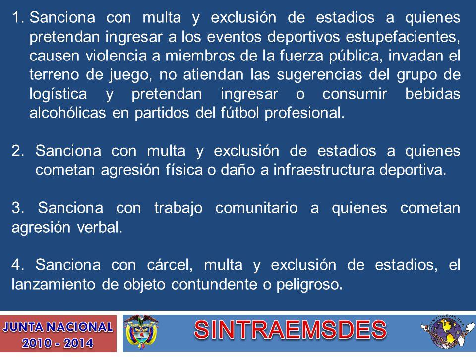 1.Sanciona con multa y exclusión de estadios a quienes pretendan ingresar a los eventos deportivos estupefacientes, causen violencia a miembros de la