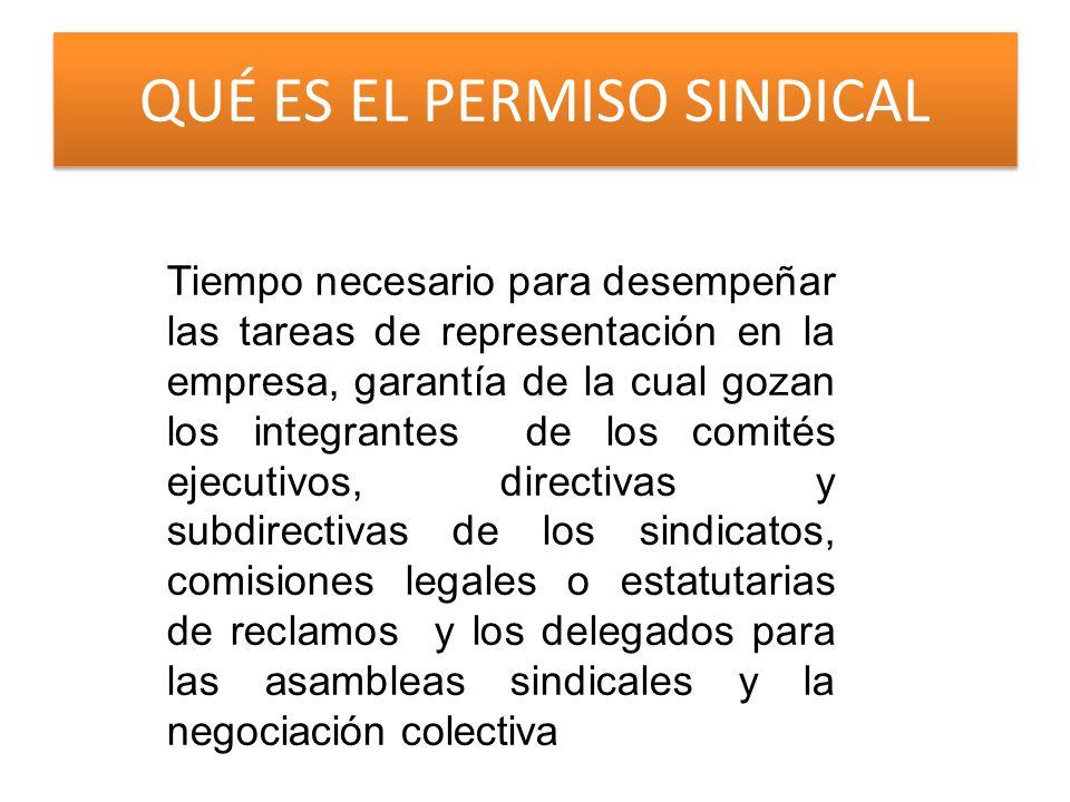 QUÉ ES EL PERMISO SINDICAL Tiempo necesario para desempeñar las tareas de representación en la empresa, garantía de la cual gozan los integrantes de los comités ejecutivos, directivas y subdirectivas de los sindicatos, comisiones legales o estatutarias de reclamos y los delegados para las asambleas sindicales y la negociación colectiva